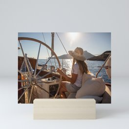 Girl onboard a sailing yacht- nautical photography- sailor Mini Art Print