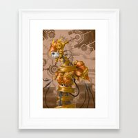 steam punk Framed Art Prints featuring Steam Punk Iron Girl by cyberfrog