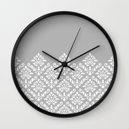 Damask Baroque Part Pattern White on Grey Wall Clock