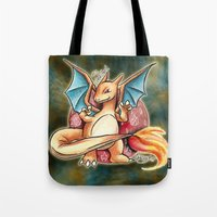 charizard Tote Bags featuring 6 - charizard by Lyxy
