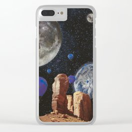 The slow trip in the universe Clear iPhone Case