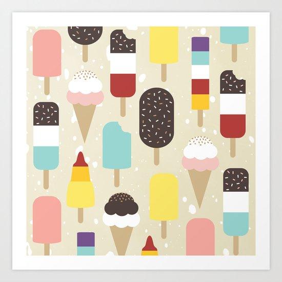 Ice Lollies & Frozen Treats Art Print