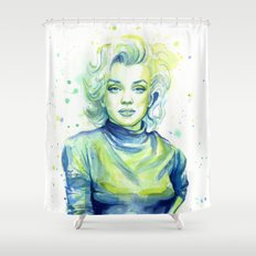 Marilyn Portrait Watercolor Painting Actress Old Hollywood Shower Curtain