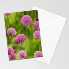 Bumble Bees on Pink Chives Stationery Cards