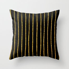Art Deco Glitter-Gold Vertical Wavy Lines on Black Throw Pillow
