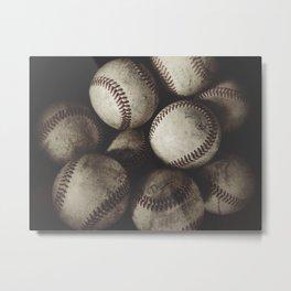 Grungy Baseballs on a Shelf Metal Print