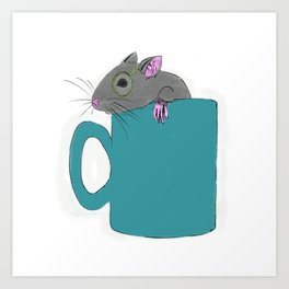 Mouse in a Cup illustration  Art Print