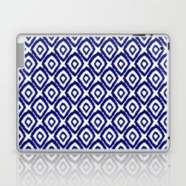 Ikat blue indigo painting modern abstract pattern print ink splash painterly brushstrokes classic  Laptop & iPad Skin