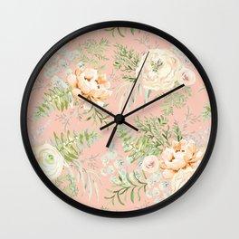 Blush pink peony bouquets pattern Wall Clock
