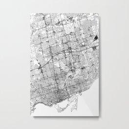 Toronto White Map Metal Print