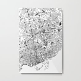 Toronto White Map Metal Print