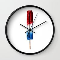 patriotic Wall Clocks featuring Patriotic Popsicle by Sam Luotonen
