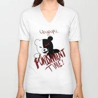 dangan ronpa V-neck T-shirts featuring Dangan Ronpa: Monokuma's Punishment by Michelle Rakar