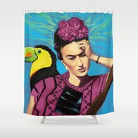frida kahlo Shower Curtains featuring Frida Kahlo by Brad Collins Art & Illustration