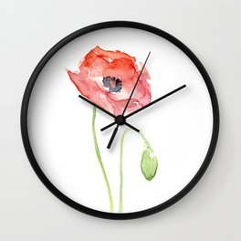 Red Poppy Watercolor Flower Floral Abstract Wall Clock