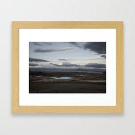 Moon over Mývatn, Iceland Framed Art Print