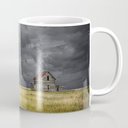 Thunderstorm on the Prairie with abandoned farmhouse Coffee Mug