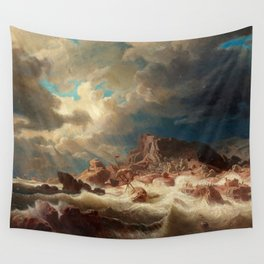 Marcus Larson - Stormy Sea With Ship Wreck Wall Tapestry