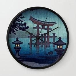 Tsuchiya Koitsu - Miyajima in Rain - Japanese Vintage Woodblock Painting Wall Clock