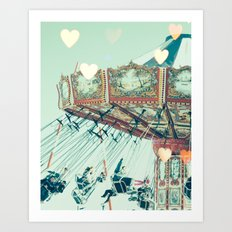 Swing Carousel and heart bokeh on pale blue Art Print