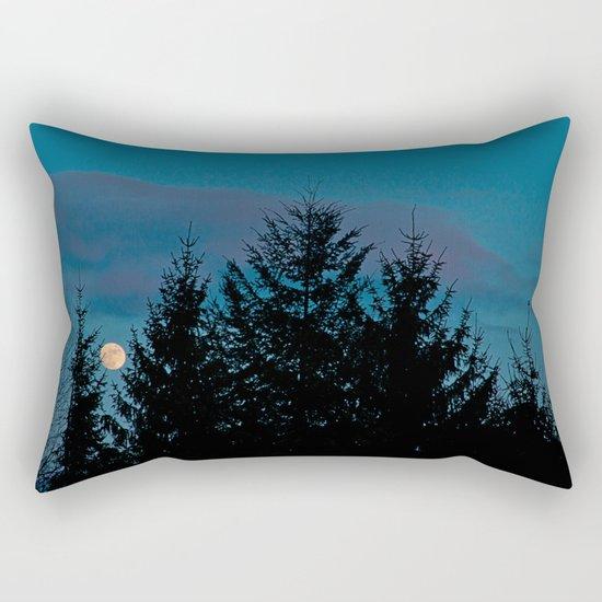 Full moon in the firs Rectangular Pillow