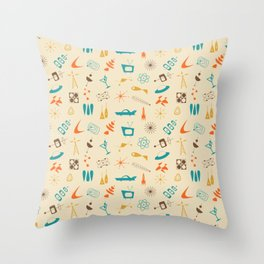 Mid Century Madness - Atomic Age Space Age Retro Pattern Throw Pillow