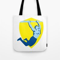 crossfit Tote Bags featuring Crossfit Pull Up Bar Shield Retro by patrimonio