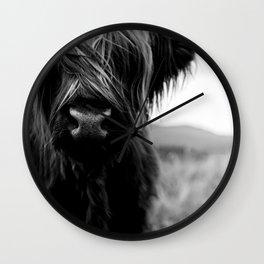 Scottish Highland Cattle Baby - Black and White Animal Photography Wall Clock