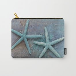Turquoise Starfish on textured Background Carry-All Pouch