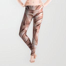 Rose Gold Monstera Leaves on Blush Pink Leggings