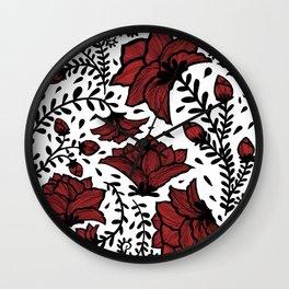 Red Flower Garden Wall Clock