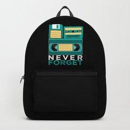 Never Forget | Retro VHS Cassette Tape Floppy Disk Backpack