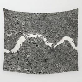 London map drawing ink pen Wall Tapestry