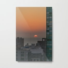Aerial View of Sunset at the River in Montevideo Uruguay Metal Print
