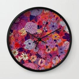 Scarlet Flowers Wall Clock