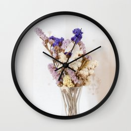 Dried flower in glass vase Wall Clock