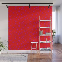 Scattered Hand-Drawn Bright Hot Pink Painted Hearts Pattern on Bright Red Wall Mural