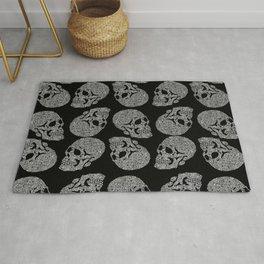 Skull doodle pattern - white on black - trippy art Rug