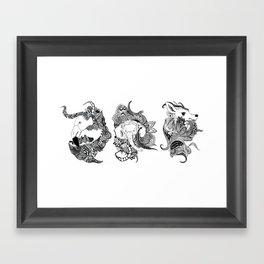 Inking Flamingo Elephant Deer Framed Art Print