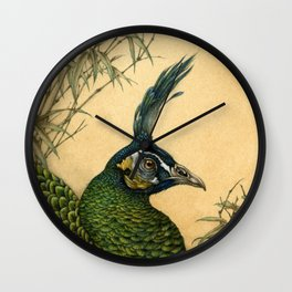 Green Peafowl Head Wall Clock