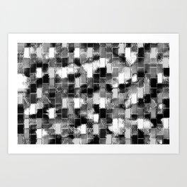 BRICK WALL SMUDGED (Black, White & Grays) Art Print