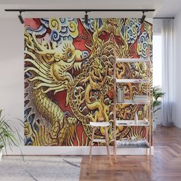 the dragon, in luck love golden Wall Mural