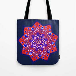 Red White and Blue Mandala star swirl Tote Bag