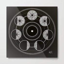 Mandala Moon Circle Metal Print