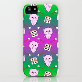 Cute funny Kawaii chibi little pink baby kittens, happy sweet cheerful sushi with shrimp on top, rice balls and chopsticks green pattern design. iPhone Case
