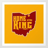 lebron Art Prints featuring Home of the King (Yellow) by Denise Zavagno