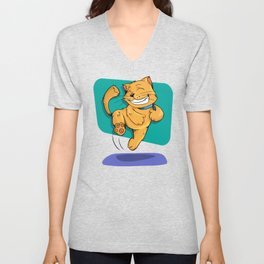 Jumping Golden Brown Cat Unisex V-Neck