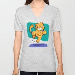 Jumping Golden Brown Cat Unisex V-Neck