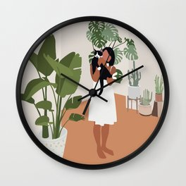 Plant lady and her cat Wall Clock