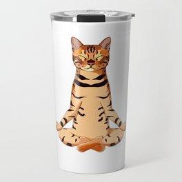 Yoga Bengal Cat  Travel Mug